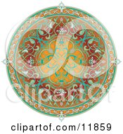 Colorful Circular Middle Eastern Floral Rug Clipart Illustration