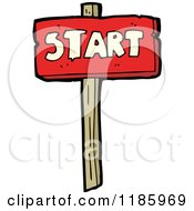 Cartoon Of A Wooden Sign With The Word Start Royalty Free Vector Illustration by lineartestpilot