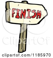 Cartoon Of A Wooden Sign With The Word Finish Royalty Free Vector Illustration by lineartestpilot
