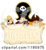 Cartoon Of A Pirate Captain And Crew Holding A Parchment Sign Royalty Free Vector Clipart