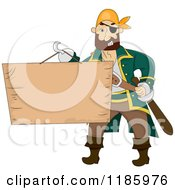 Cartoon Of A Male Pirate Holding A Wood Sign On His Hook Hand Royalty Free Vector Clipart