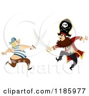 Cartoon Of A Pirate Captain Sword Fighting A Man Royalty Free Vector Clipart
