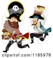 Cartoon Of A Pirate Captain And Man Running With Treasure Chests Royalty Free Vector Clipart