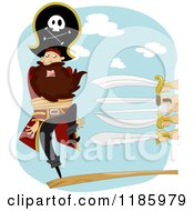 Cartoon Of A Peg Legged Pirate Captain Walking The Plank With Swords At One End Royalty Free Vector Clipart by BNP Design Studio