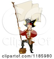 Cartoon Of A Pirate Captain Resting His Foot On A Treasure Chest And Holding A Blank Flag Royalty Free Vector Clipart