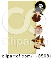 Cartoon Of A Pirate Captain And Men Peeking Around A Sign Royalty Free Vector Clipart