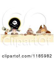 Cartoon Of A Pirate Captain And Men With A Spyglass Over A Sign Royalty Free Vector Clipart