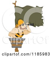 Cartoon Of A Pirate Using A Spyglass In A Crows Nest Royalty Free Vector Clipart