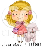 Cartoon Of A Cute Blond Girl And Pet Dog Royalty Free Vector Clipart