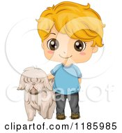 Cartoon Of A Cute Blond Boy And Pet Dog Royalty Free Vector Clipart