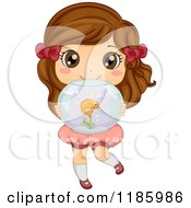 Cartoon Of A Cute Brunette Girl Holding A Fish Bowl Royalty Free Vector Clipart