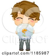 Cartoon Of A Cute Brunette Boy Holding A Fish Bowl Royalty Free Vector Clipart