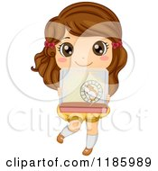 Cartoon Of A Cute Brunette Girl Holding Up A Hamster Cage Royalty Free Vector Clipart