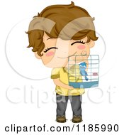 Cartoon Of A Cute Brunette Boy Holding Up His Bird Cage Royalty Free Vector Clipart