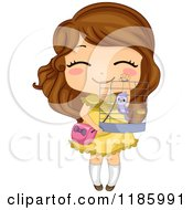 Cartoon Of A Cute Brunette Girl Holding Up Her Bird Cage Royalty Free Vector Clipart
