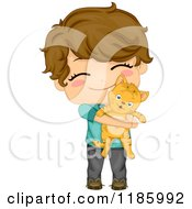 Cartoon Of A Cute Brunette Boy Hugging His Cat Royalty Free Vector Clipart