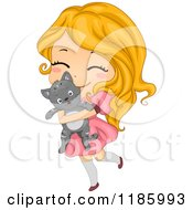 Cartoon Of A Cute Blond Girl Hugging Her Cat Royalty Free Vector Clipart