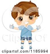 Cartoon Of A Happy Brunette Soccer Goal Keeper Boy Royalty Free Vector Clipart
