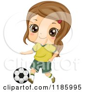 Cartoon Of A Cute Brunette Girl With A Soccer Ball Royalty Free Vector Clipart