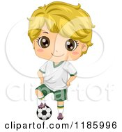 Cartoon Of A Cute Blond Boy With A Soccer Ball Royalty Free Vector Clipart