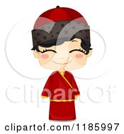 Cartoon Of A Cute Chinese Boy In A Traditional Changsam Royalty Free Vector Clipart