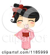 Cartoon Of A Cute Japanese Girl Smiling Behind A Fan And Wearing A Traditional Yukata Royalty Free Vector Clipart