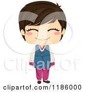 Cartoon Of A Cute Smiling Korean Boy Wearing A Traditional Costume Royalty Free Vector Clipart