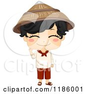Cartoon Of A Cute Filipino Boy Waving And Wearing A Traditional Kamisa De Chino Royalty Free Vector Clipart