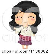 Cartoon Of A Cute Filipino Girl Waving And Wearing A Traditional Kimona Royalty Free Vector Clipart