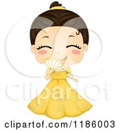 Cartoon Of A Cute Filipino Girl Wearing A Traditional Barot Saya Royalty Free Vector Clipart