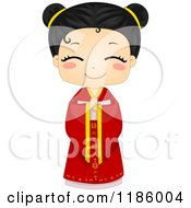 Cartoon Of A Cute Chinese Girl In A Traditional Cheongsam Royalty Free Vector Clipart