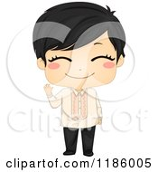 Cartoon Of A Cute Waving Filipino Boy Wearing Traditional Barong Tagalog Royalty Free Vector Clipart