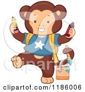 Cartoon Of A Student Monkey With Art Supplies Royalty Free Vector Clipart