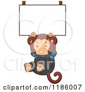 Cartoon Of A Student Monkey Hanging From A Sign Royalty Free Vector Clipart