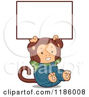 Cartoon Of A Student Monkey Holding Up A Sign Royalty Free Vector Clipart