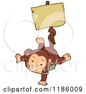 Cartoon Of A Cute Monkey Holding A Sign With His Tail Royalty Free Vector Clipart
