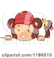 Cartoon Of A Student Monkey With A Pencil Over A Sign Royalty Free Vector Clipart