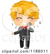 Cartoon Of A Cute Blond Boy Singing In A Tuxedo Royalty Free Vector Clipart