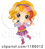 Cartoon Of A Blond Female Pop Star Girl With A Microphone Royalty Free Vector Clipart by BNP Design Studio