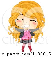 Cartoon Of A Blond Pop Star Girl Singing Into A Headset Microphone Royalty Free Vector Clipart
