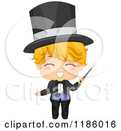 Cartoon Of A Happy Magician Boy With A Wand Royalty Free Vector Clipart