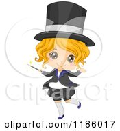 Cartoon Of A Happy Blond Magician Girl With A Wand Royalty Free Vector Clipart by BNP Design Studio