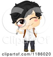 Cartoon Of A Happy Asian School Boy Peeking Through A Magnifying Glass Royalty Free Vector Clipart