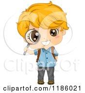 Cartoon Of A Happy Blond School Boy Peeking Through A Magnifying Glass Royalty Free Vector Clipart
