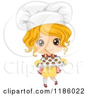 Cartoon Of A Cute Blond Caucasian Baker Girl Holding Fresh Cookies Royalty Free Vector Clipart