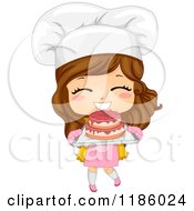 Cartoon Of A Cute Brunette Caucasian Baker Girl Holding Fresh Cake Royalty Free Vector Clipart