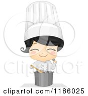 Cartoon Of A Cute Chef Girl Seasoning Soup Royalty Free Vector Clipart by BNP Design Studio