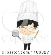 Cartoon Of A Cute Chef Boy Holding A Spoon And Saucepan Royalty Free Vector Clipart by BNP Design Studio