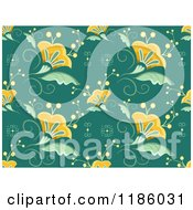 Cartoon Of A Seamless Background Of Beautiful Flowers On Teal Royalty Free Vector Clipart