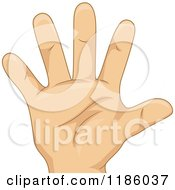 Cartoon Of A Kids Hand Counting Number Five Royalty Free Vector Clipart